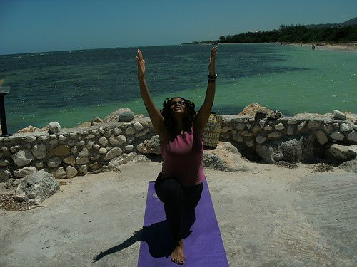 Practicing yoga in Montego Bay, Jamaica in 2011