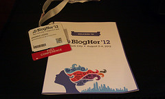 BlogHer12 badge and agenda