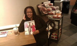 Ananda the Internet Geek enjoying Fast Company while sipping Zen green tea at Starbucks