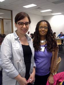 My RailsGirlsDC coach Melanie Gilman and I