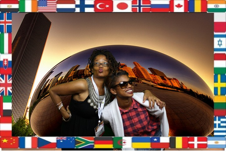 Photo Credit: BlogHer - Ananda & Lauren Brown Jarvis having a fun time posing at the Multi Culti party.