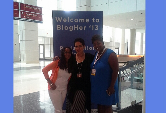 Connecting with new friends Pauline Campos and Sherri Good at the BlogHer 13 Expo Hall on July 25 at the McCormick Place in Chicago, IL