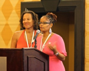 Me and Xina Eiland moderating open-mic luncheon session @Blogalicious 2010 - Photo Credit: NYCityMama Carol Cain