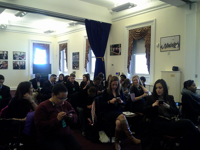 Photo Credit: yours truly -- Social media leaders at #WHSocial briefing with White House staff at EEOB on 2/11/14