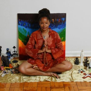 Ananda with her yoga and chakra inspired art